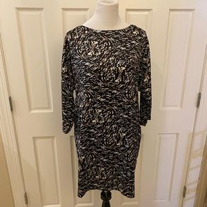 Halston Career Dress Black Brown Dots M Fits L